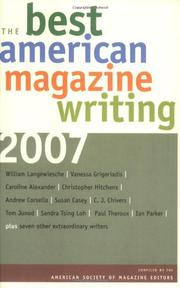 Book Cover for THE BEST AMERICAN MAGAZINE WRITING 2007