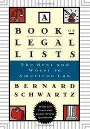 Book Cover for A BOOK OF LEGAL LISTS
