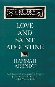 LOVE AND SAINT AUGUSTINE by Hannah Arendt