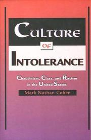 CULTURE OF INTOLERANCE by Mark Nathan Cohen