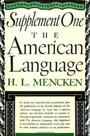 THE AMERICAN LANGUAGE SUPPLEMENT 1  by H.L. Mencken