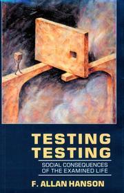 TESTING TESTING by F. Allan Hanson