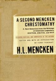 Cover art for A SECOND MENCKEN CHRESTOMATHY
