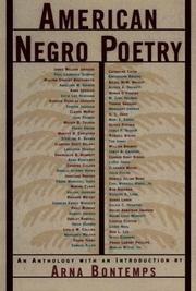 AMERICAN NEGRO POETRY by Arna-Ed. Bontemps