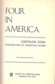 FOUR IN AMERICA by Gertrude Stein