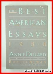 THE BEST AMERICAN ESSAYS 1988 by Annie Dillard