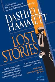 LOST STORIES by Dashiell; Ed. by Vince Emery Hammett