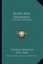 PLATO AND DIONYSIUS by Ludwig Marcuse