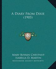 A DIARY FROM DIXIE by Mary Boykin Chestnut