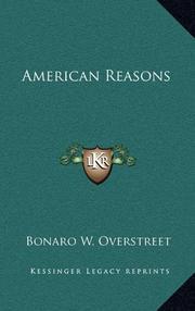AMERICAN REASONS by Bonaro W. Overstreet