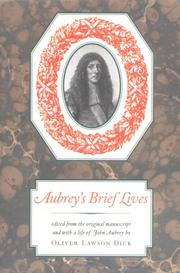AUBREY'S BRIEF LIVES by Oliver Lawson- Ed. Dick