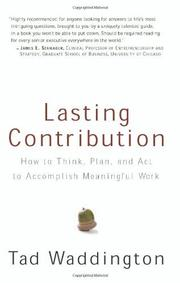 LASTING CONTRIBUTION by Tad Waddington